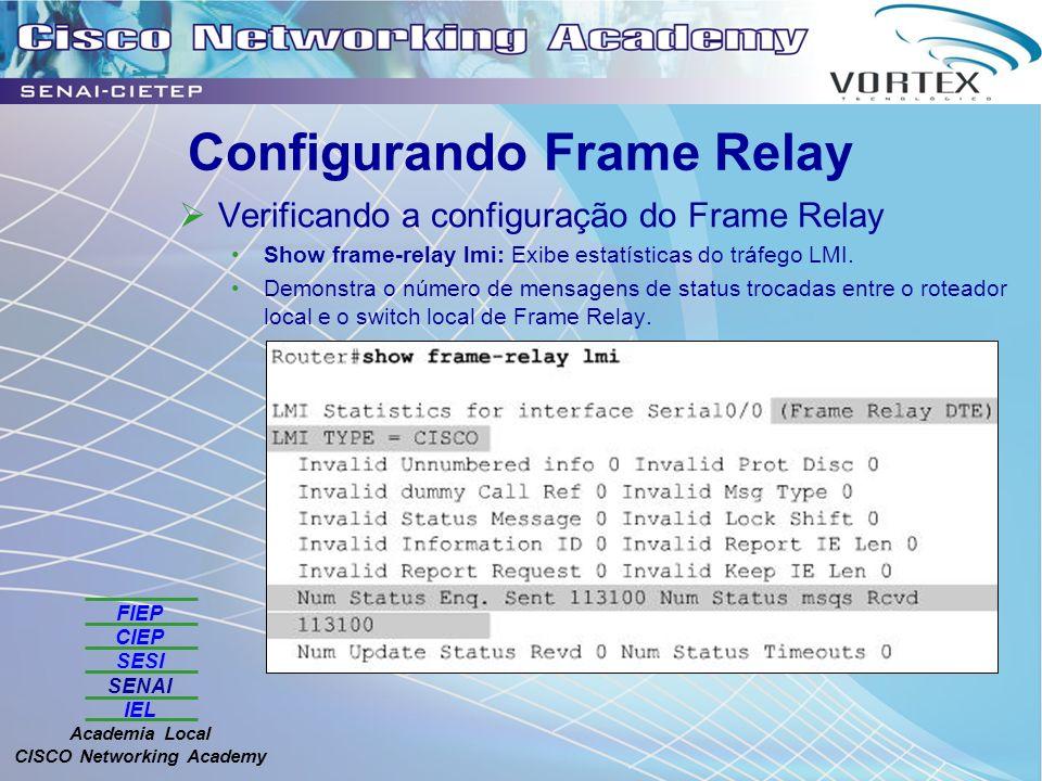 FIEP CIEP SESI SENAI IEL Academia Local CISCO Networking Academy Configurando Frame Relay Verificando a configuração do Frame Relay Show frame-relay lmi: Exibe estatísticas do tráfego LMI.