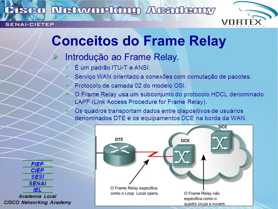 FIEP CIEP SESI SENAI IEL Academia Local CISCO Networking Academy Conceitos do Frame Relay Introdução ao Frame Relay. É um padrão ITU-T e ANSI. Serviço