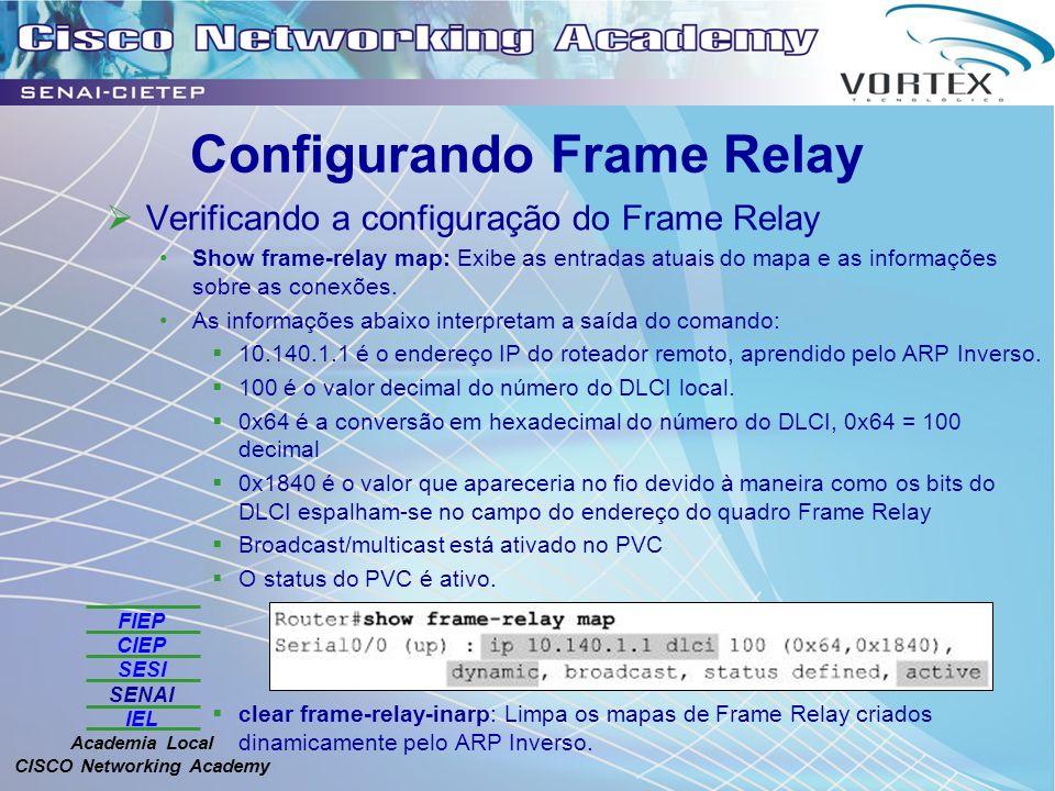 FIEP CIEP SESI SENAI IEL Academia Local CISCO Networking Academy Configurando Frame Relay Verificando a configuração do Frame Relay Show frame-relay map: Exibe as entradas atuais do mapa e as informações sobre as conexões.
