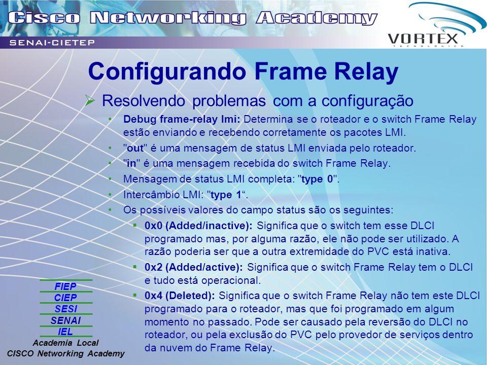 FIEP CIEP SESI SENAI IEL Academia Local CISCO Networking Academy Configurando Frame Relay Resolvendo problemas com a configuração Debug frame-relay lmi: Determina se o roteador e o switch Frame Relay estão enviando e recebendo corretamente os pacotes LMI.