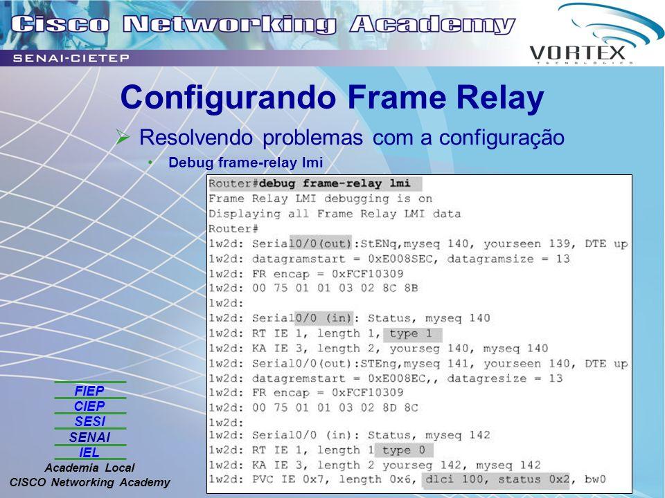 FIEP CIEP SESI SENAI IEL Academia Local CISCO Networking Academy Configurando Frame Relay Resolvendo problemas com a configuração Debug frame-relay lmi