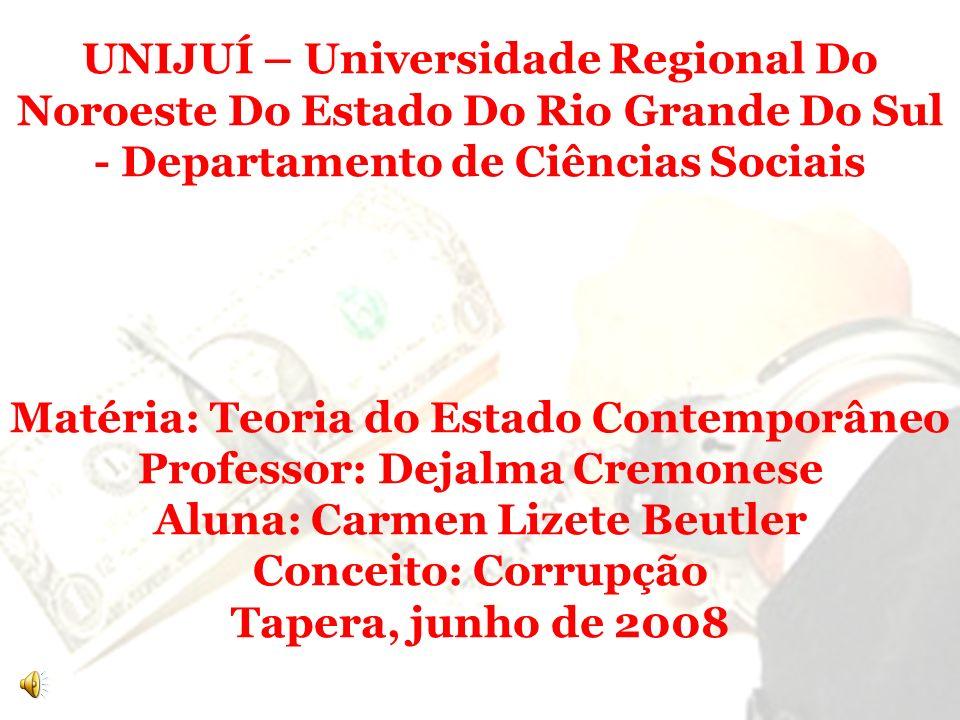 UNIJUÍ – Universidade Regional Do Noroeste Do Estado Do Rio Grande Do Sul - Departamento de Ciências Sociais Matéria: Teoria do Estado Contemporâneo P