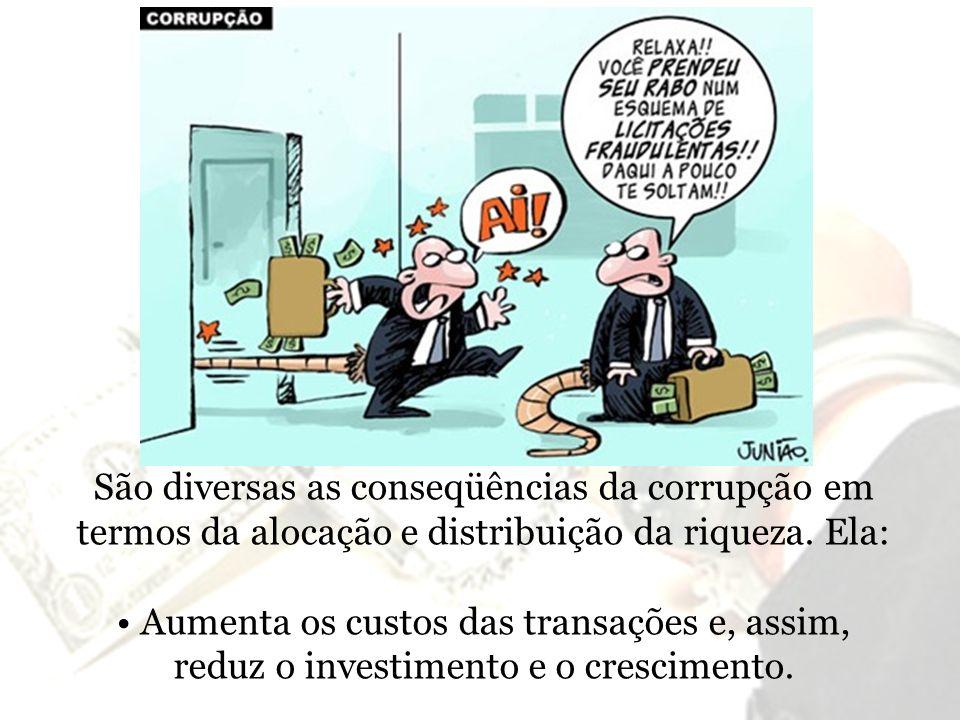 São diversas as conseqüências da corrupção em termos da alocação e distribuição da riqueza. Ela: Aumenta os custos das transações e, assim, reduz o in