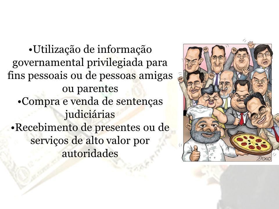 Utilização de informação governamental privilegiada para fins pessoais ou de pessoas amigas ou parentes Compra e venda de sentenças judiciárias Recebi