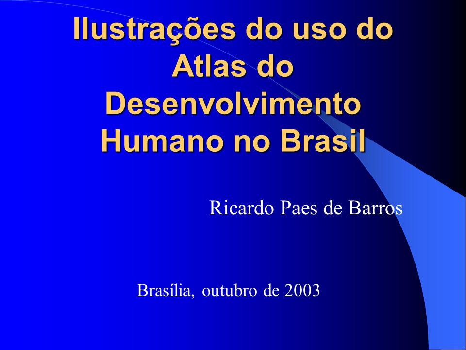 Ilustrações do uso do Atlas do Desenvolvimento Humano no Brasil Ricardo Paes de Barros Brasília, outubro de 2003