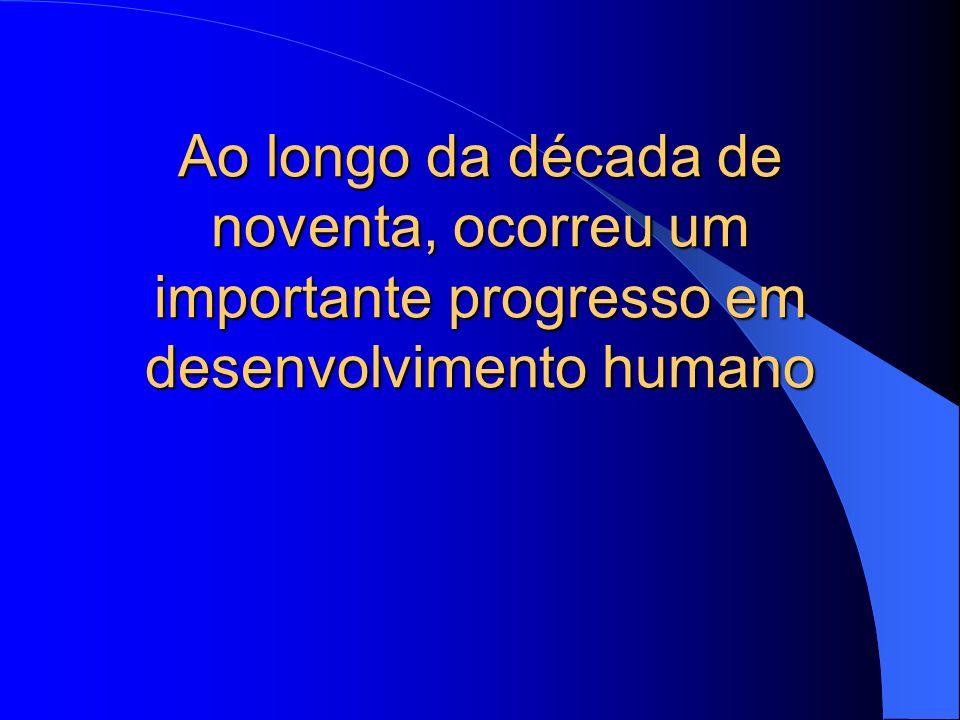 Ao longo da década de noventa, ocorreu um importante progresso em desenvolvimento humano