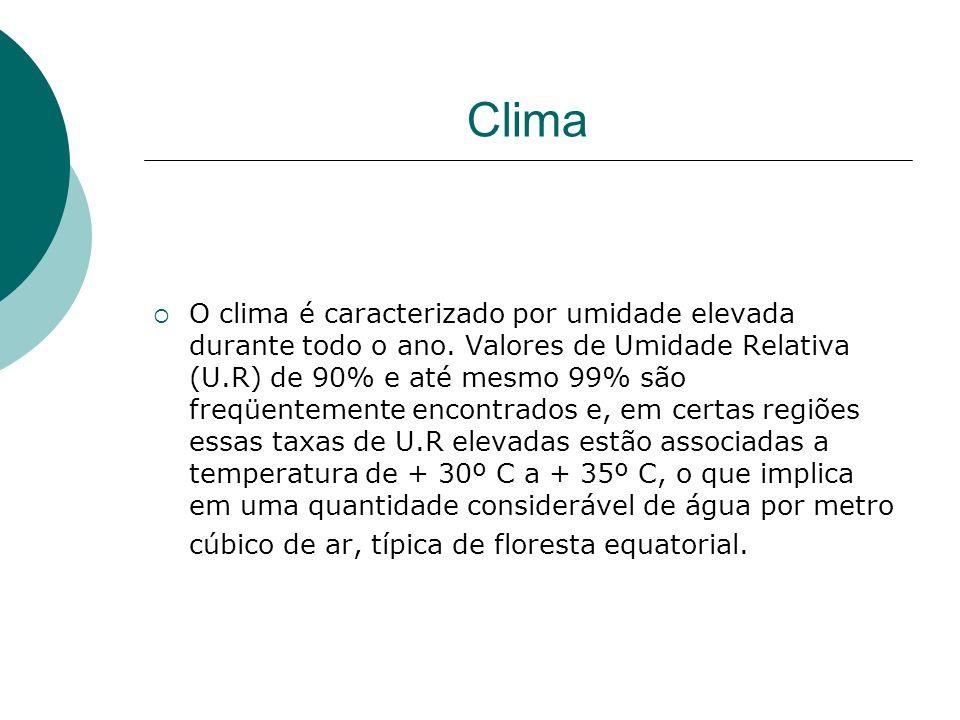 Clima O clima é caracterizado por umidade elevada durante todo o ano.