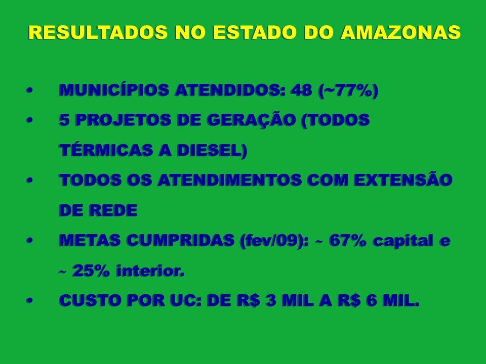 RESULTADOS NO ESTADO DO AMAZONAS MUNICÍPIOS ATENDIDOS: 48 (~77%) 5 PROJETOS DE GERAÇÃO (TODOS TÉRMICAS A DIESEL) TODOS OS ATENDIMENTOS COM EXTENSÃO DE