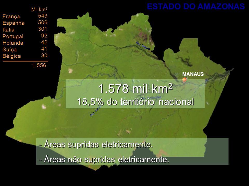 MANAUS Rio Juruá Rio Solimões Rio Negro 1.578 mil km 2 18,5% do território nacional França Espanha Itália Portugal Holanda Suíça Bélgica Mil km 2 543