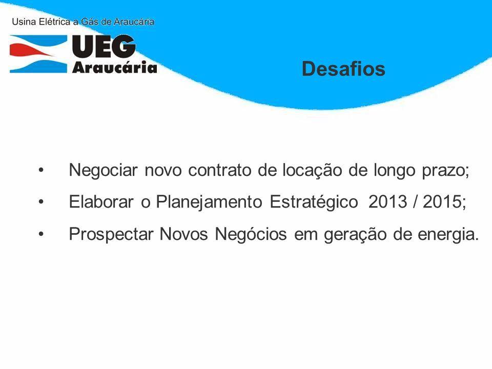 Desafios Negociar novo contrato de locação de longo prazo; Elaborar o Planejamento Estratégico 2013 / 2015; Prospectar Novos Negócios em geração de en