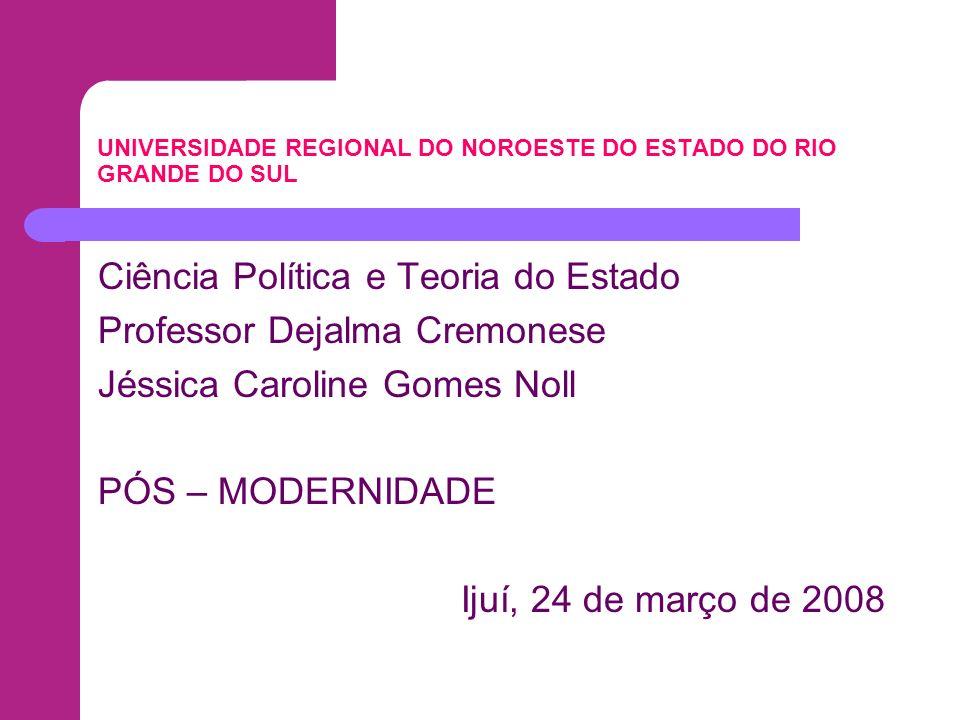 UNIVERSIDADE REGIONAL DO NOROESTE DO ESTADO DO RIO GRANDE DO SUL Ciência Política e Teoria do Estado Professor Dejalma Cremonese Jéssica Caroline Gome