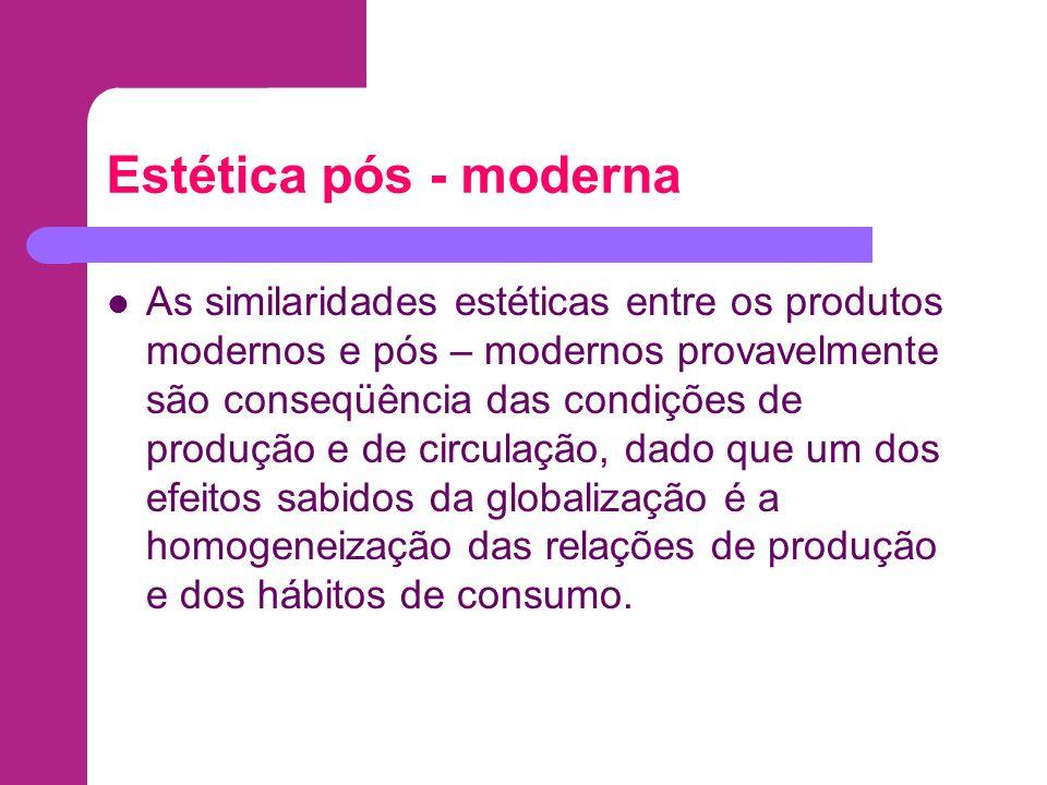 Estética pós - moderna As similaridades estéticas entre os produtos modernos e pós – modernos provavelmente são conseqüência das condições de produção