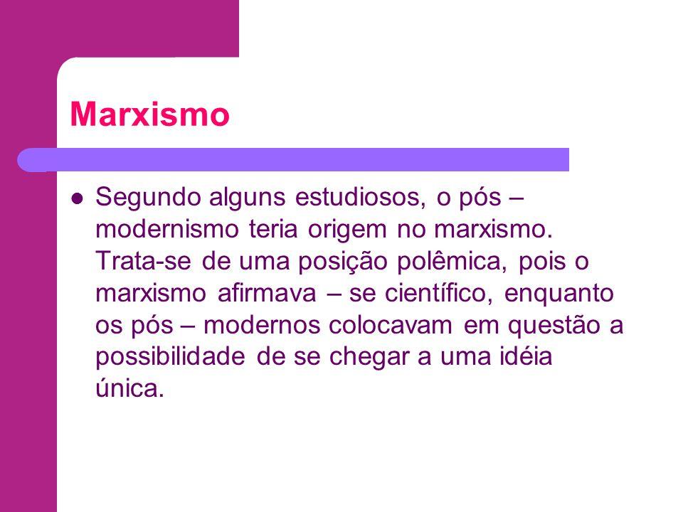 Marxismo Segundo alguns estudiosos, o pós – modernismo teria origem no marxismo. Trata-se de uma posição polêmica, pois o marxismo afirmava – se cient