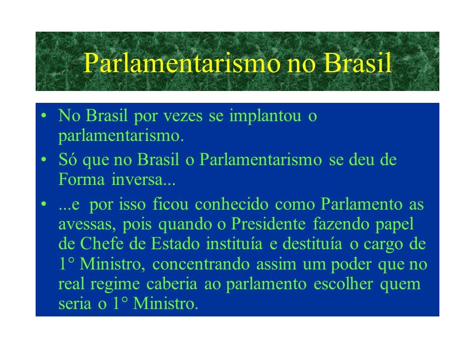 Parlamentarismo no Brasil No Brasil por vezes se implantou o parlamentarismo.
