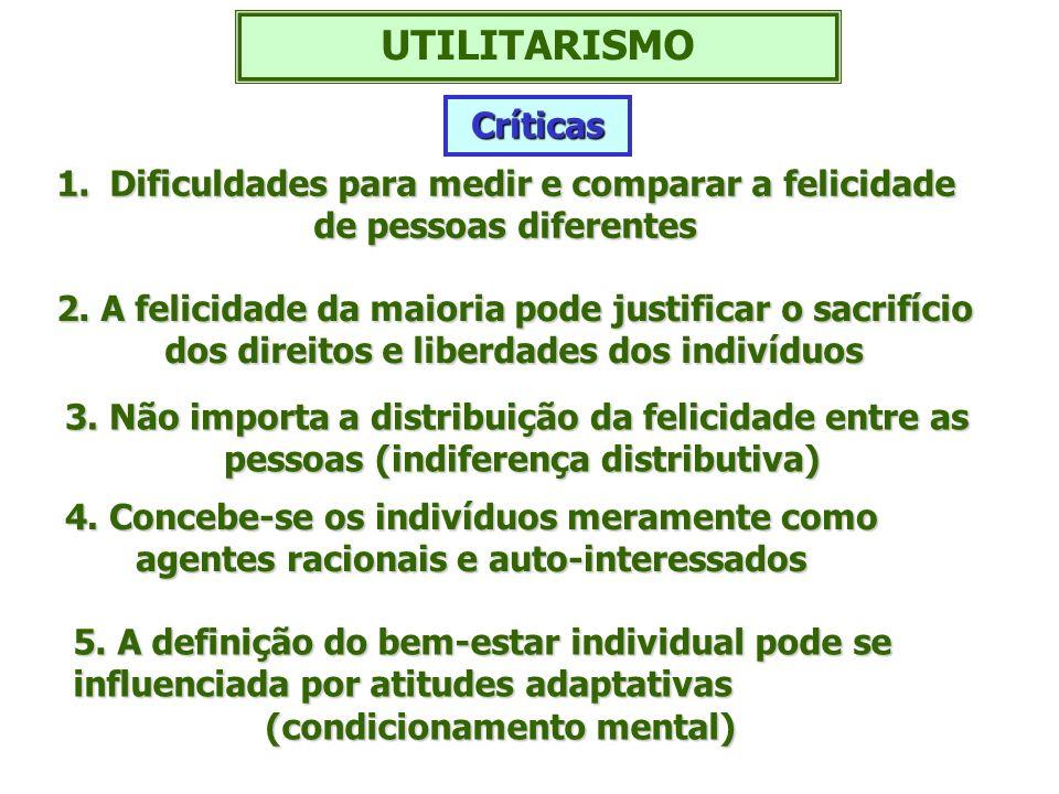 UTILITARISMO 1.Dificuldades para medir e comparar a felicidade de pessoas diferentes 2. A felicidade da maioria pode justificar o sacrifício dos direi