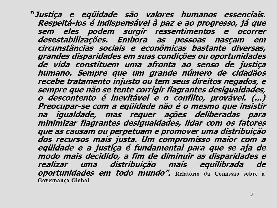 2 Justiça e eqüidade são valores humanos essenciais. Respeitá-los é indispensável à paz e ao progresso, já que sem eles podem surgir ressentimentos e