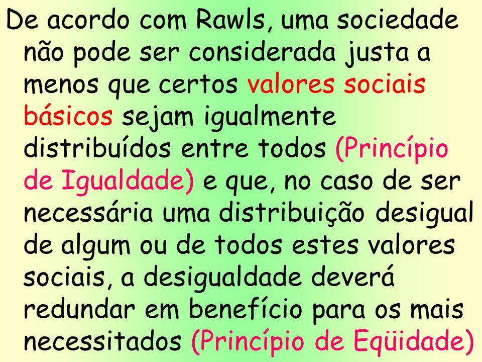 20 De acordo com Rawls, uma sociedade não pode ser considerada justa a menos que certos valores sociais básicos sejam igualmente distribuídos entre to