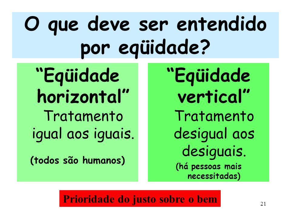 21 O que deve ser entendido por eqüidade? Eqüidade horizontal Tratamento igual aos iguais. (todos são humanos) Eqüidade vertical Tratamento desigual a