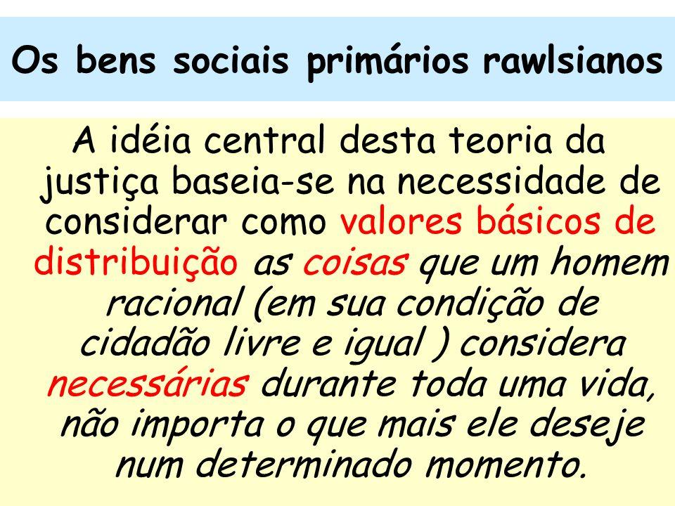 22 Os bens sociais primários rawlsianos A idéia central desta teoria da justiça baseia-se na necessidade de considerar como valores básicos de distrib