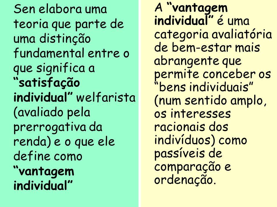 30 Sen elabora uma teoria que parte de uma distinção fundamental entre o que significa a satisfação individual welfarista (avaliado pela prerrogativa