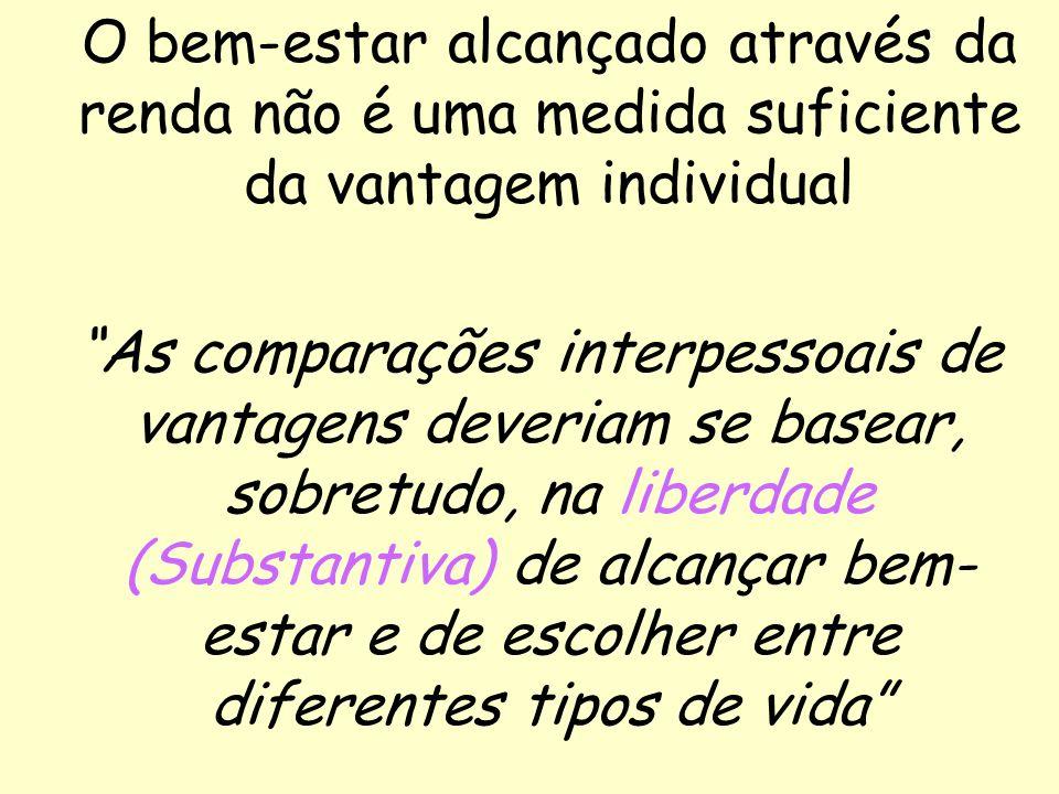 31 O bem-estar alcançado através da renda não é uma medida suficiente da vantagem individual As comparações interpessoais de vantagens deveriam se bas