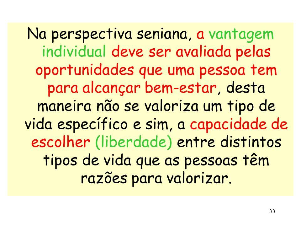 33 Na perspectiva seniana, a vantagem individual deve ser avaliada pelas oportunidades que uma pessoa tem para alcançar bem-estar, desta maneira não s