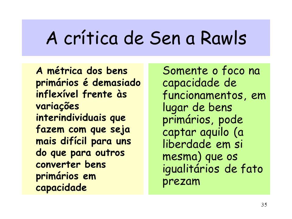 35 A crítica de Sen a Rawls A métrica dos bens primários é demasiado inflexível frente às variações interindividuais que fazem com que seja mais difíc