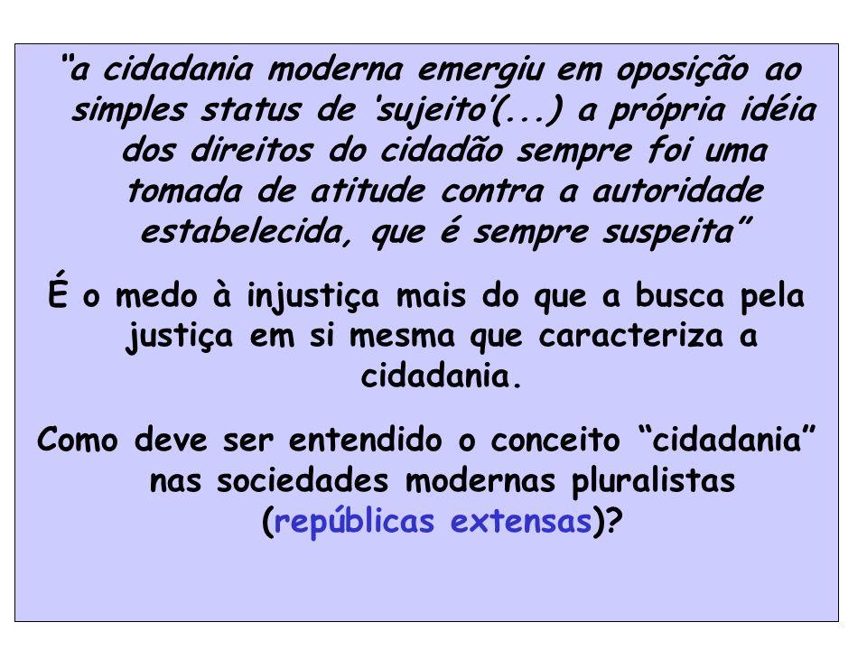 39 a cidadania moderna emergiu em oposição ao simples status de sujeito(...) a própria idéia dos direitos do cidadão sempre foi uma tomada de atitude