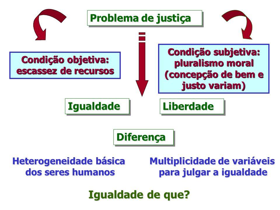 Problema de justiça IgualdadeIgualdadeLiberdadeLiberdade DiferençaDiferença Igualdade de que? Heterogeneidade básica dos seres humanos dos seres human