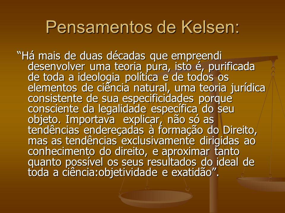 Pensamentos de Kelsen: Há mais de duas décadas que empreendi desenvolver uma teoria pura, isto é, purificada de toda a ideologia política e de todos o