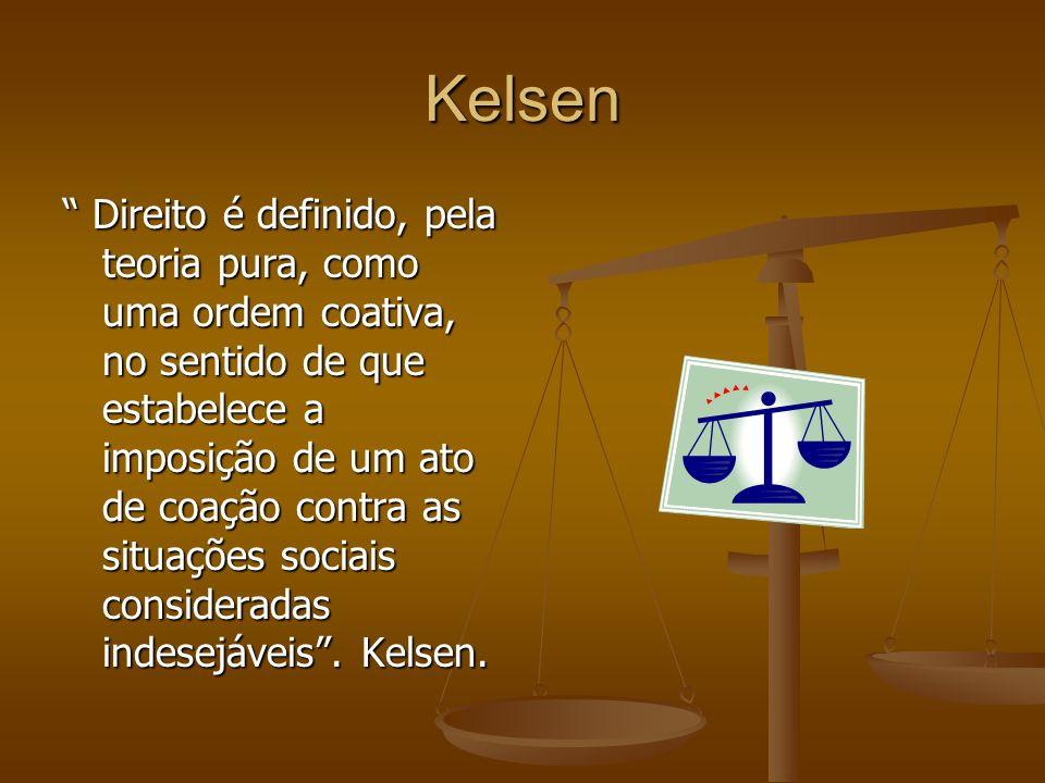 Kelsen Direito é definido, pela teoria pura, como uma ordem coativa, no sentido de que estabelece a imposição de um ato de coação contra as situações