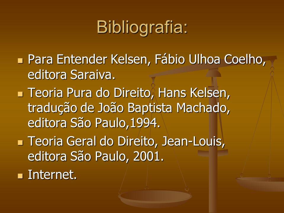 Bibliografia: Para Entender Kelsen, Fábio Ulhoa Coelho, editora Saraiva. Para Entender Kelsen, Fábio Ulhoa Coelho, editora Saraiva. Teoria Pura do Dir