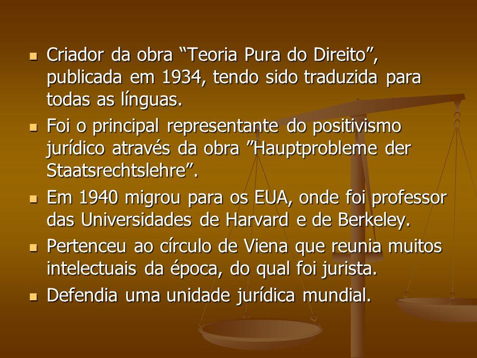 Criador da obra Teoria Pura do Direito, publicada em 1934, tendo sido traduzida para todas as línguas. Criador da obra Teoria Pura do Direito, publica