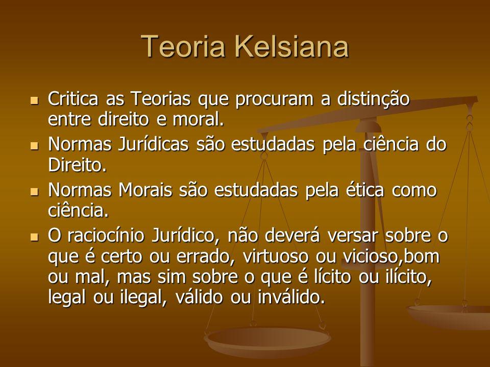 Teoria Kelsiana Critica as Teorias que procuram a distinção entre direito e moral. Critica as Teorias que procuram a distinção entre direito e moral.