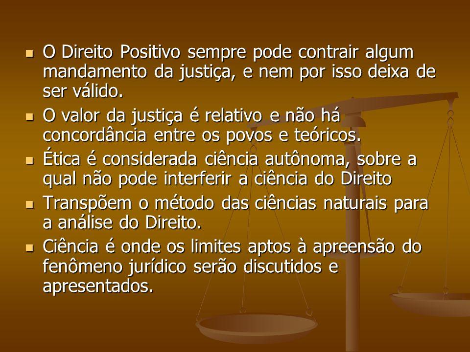 O Direito Positivo sempre pode contrair algum mandamento da justiça, e nem por isso deixa de ser válido. O Direito Positivo sempre pode contrair algum