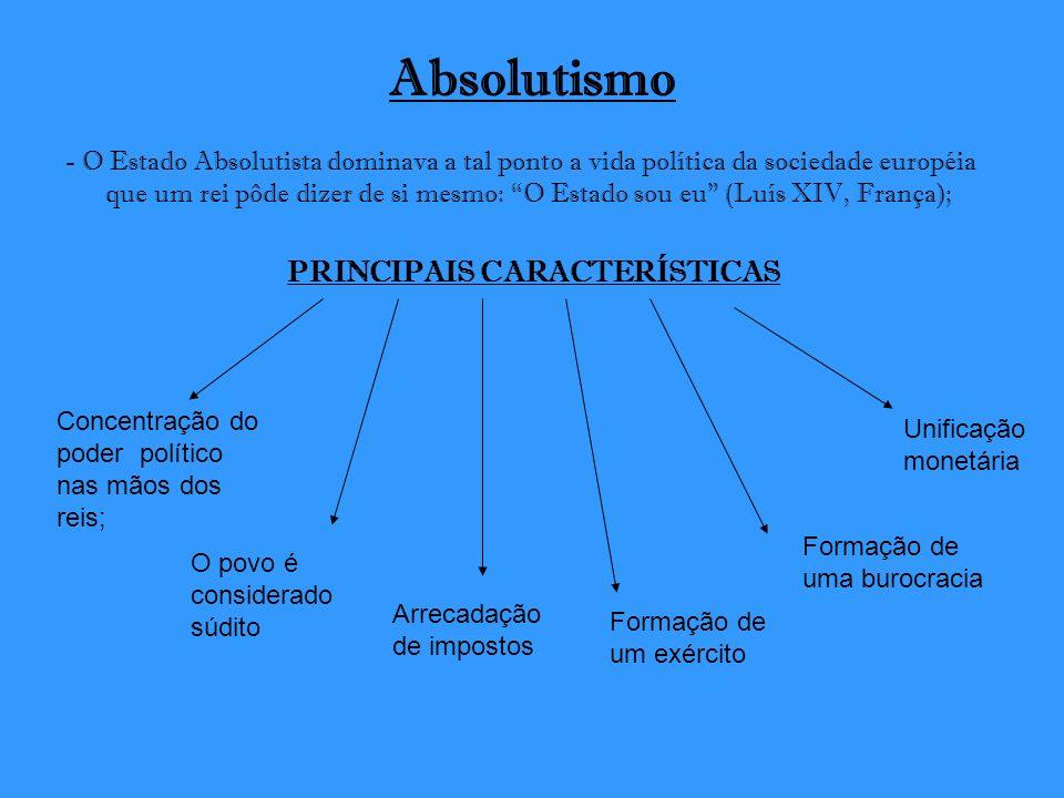 Absolutismo - O Estado Absolutista dominava a tal ponto a vida política da sociedade européia que um rei pôde dizer de si mesmo: O Estado sou eu (Luís