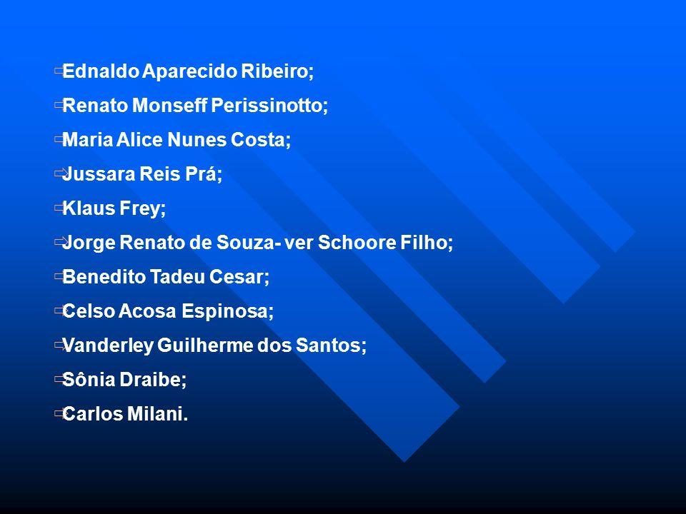 Ednaldo Aparecido Ribeiro; Renato Monseff Perissinotto; Maria Alice Nunes Costa; Jussara Reis Prá; Klaus Frey; Jorge Renato de Souza- ver Schoore Filh