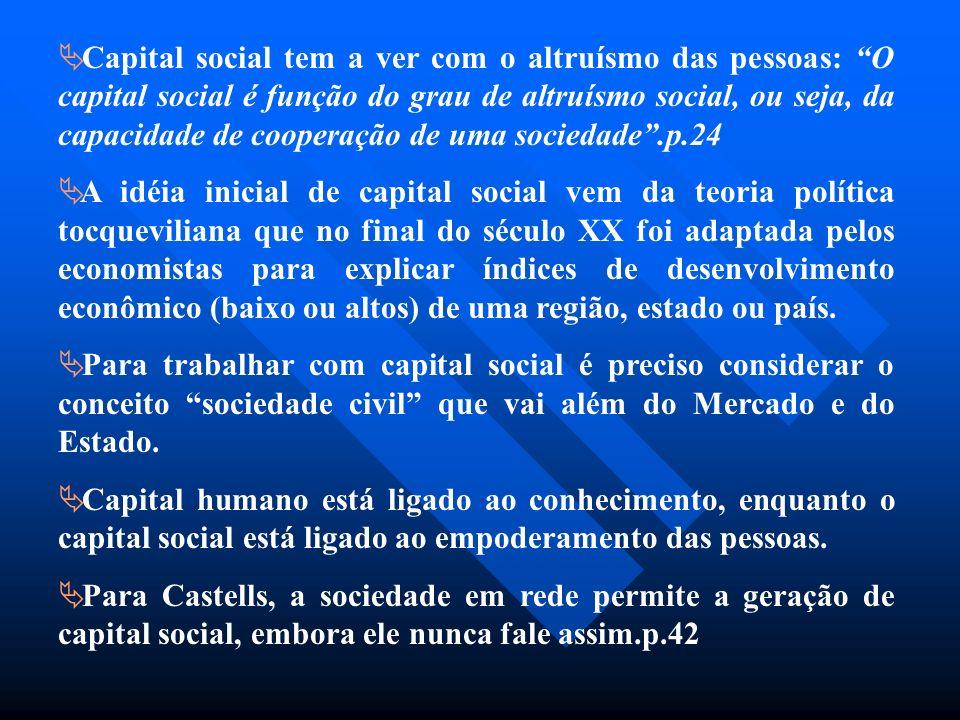 Capital social tem a ver com o altruísmo das pessoas: O capital social é função do grau de altruísmo social, ou seja, da capacidade de cooperação de u