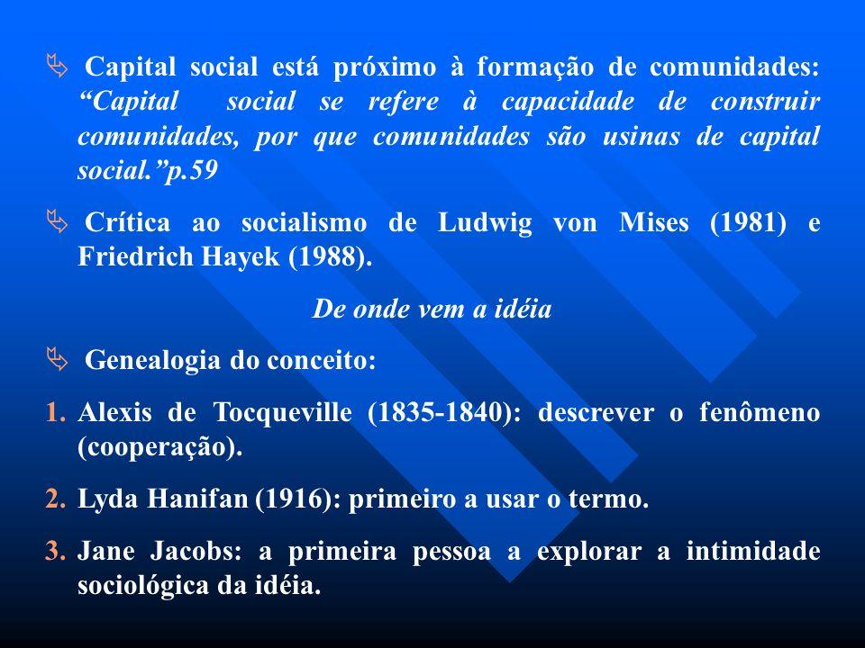 Capital social está próximo à formação de comunidades: Capital social se refere à capacidade de construir comunidades, por que comunidades são usinas