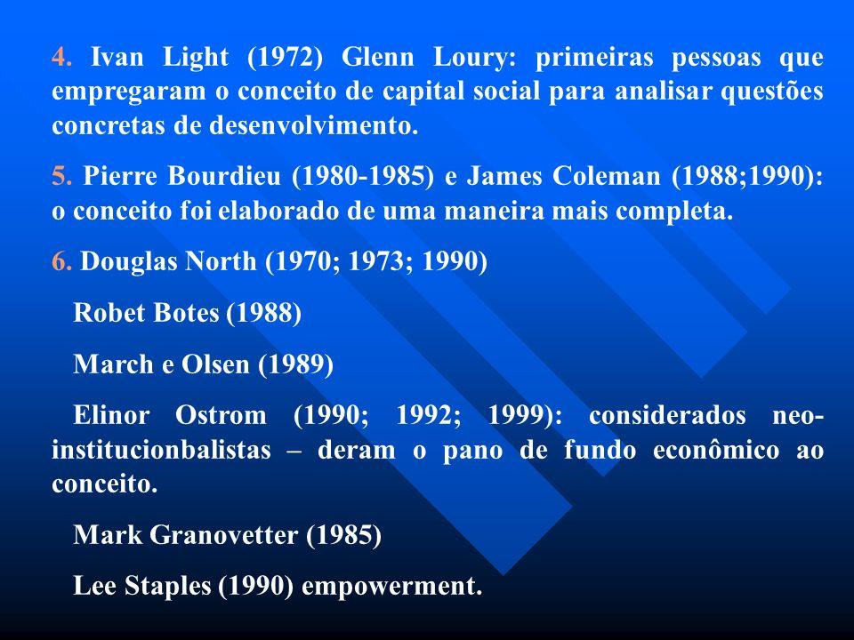 4. Ivan Light (1972) Glenn Loury: primeiras pessoas que empregaram o conceito de capital social para analisar questões concretas de desenvolvimento. 5