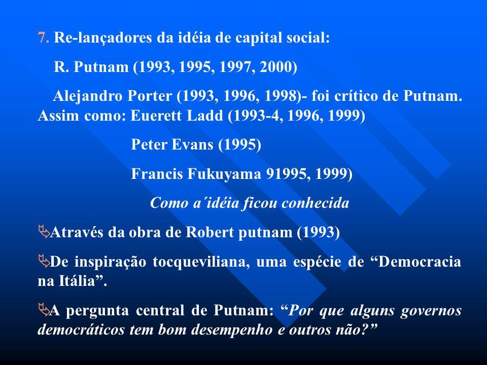 7. Re-lançadores da idéia de capital social: R. Putnam (1993, 1995, 1997, 2000) Alejandro Porter (1993, 1996, 1998)- foi crítico de Putnam. Assim como