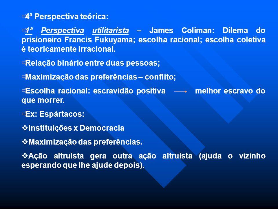 4ª Perspectiva teórica: 1ª Perspectiva utilitarista – James Coliman: Dilema do prisioneiro Francis Fukuyama; escolha racional; escolha coletiva é teor