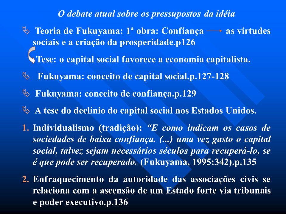 O debate atual sobre os pressupostos da idéia Teoria de Fukuyama: 1ª obra: Confiança as virtudes sociais e a criação da prosperidade.p126 Tese: o capi