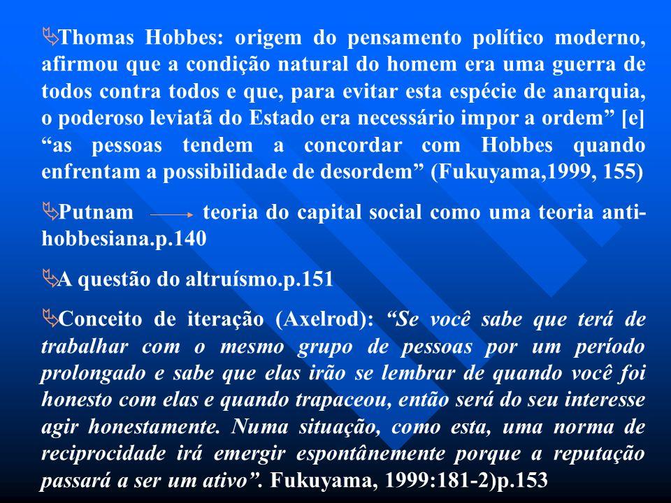 Thomas Hobbes: origem do pensamento político moderno, afirmou que a condição natural do homem era uma guerra de todos contra todos e que, para evitar