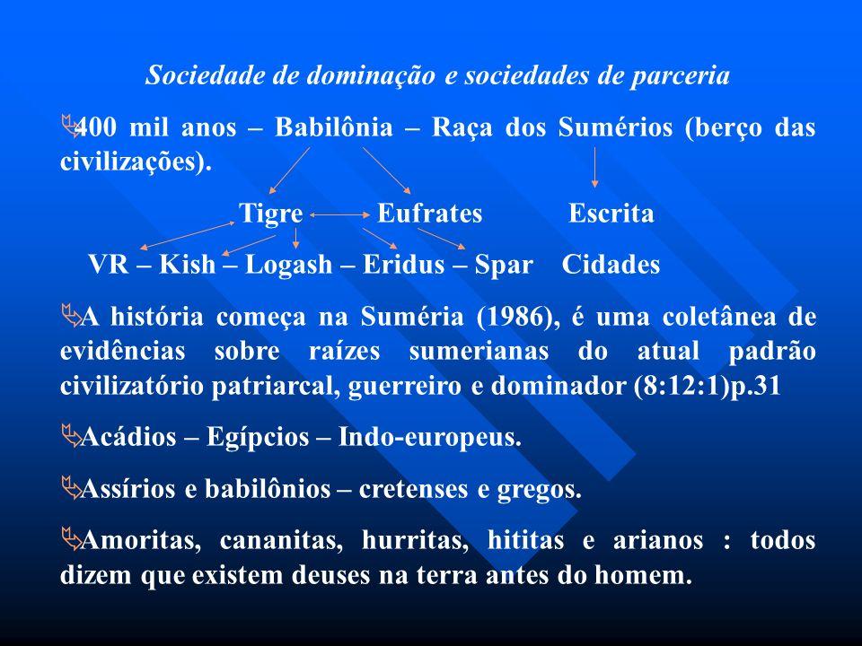 Sociedade de dominação e sociedades de parceria 400 mil anos – Babilônia – Raça dos Sumérios (berço das civilizações). Tigre Eufrates Escrita VR – Kis