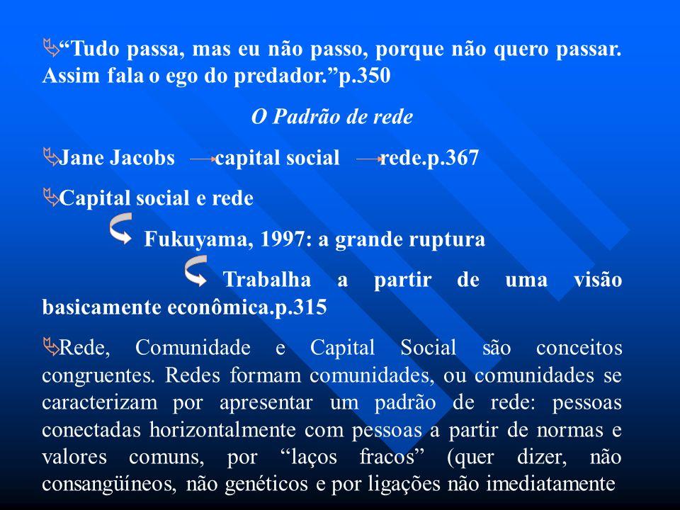 Tudo passa, mas eu não passo, porque não quero passar. Assim fala o ego do predador.p.350 O Padrão de rede Jane Jacobs capital social rede.p.367 Capit