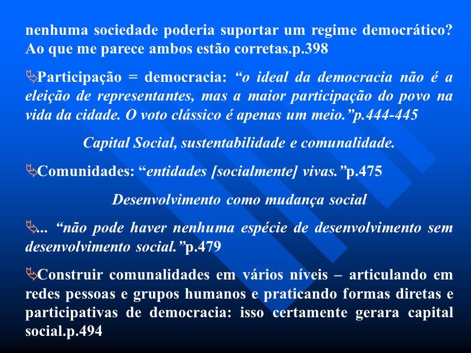 nenhuma sociedade poderia suportar um regime democrático? Ao que me parece ambos estão corretas.p.398 Participação = democracia: o ideal da democracia