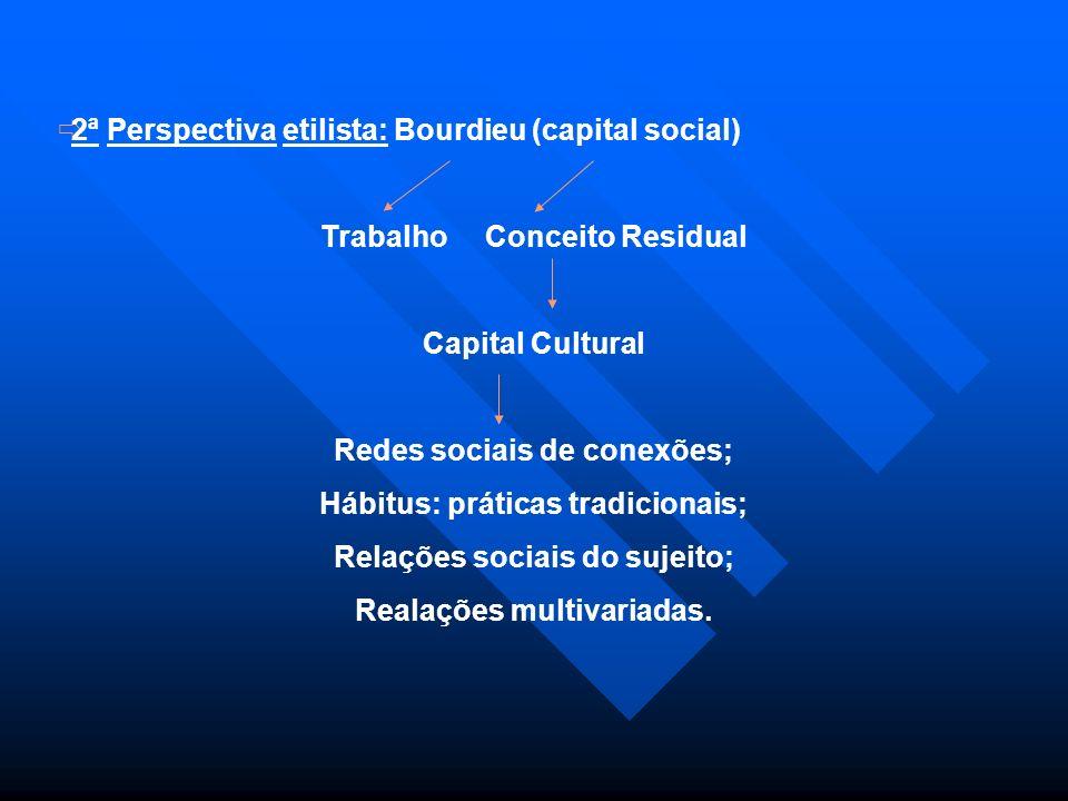 2ª Perspectiva etilista: Bourdieu (capital social) Trabalho Conceito Residual Capital Cultural Redes sociais de conexões; Hábitus: práticas tradiciona