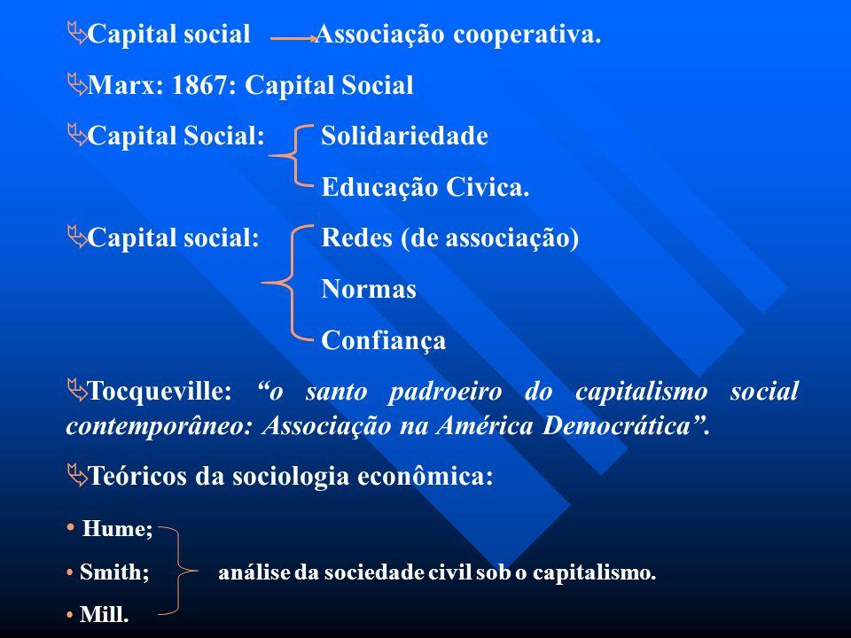 Capital social Associação cooperativa. Marx: 1867: Capital Social Capital Social: Solidariedade Educação Civica. Capital social:Redes (de associação)