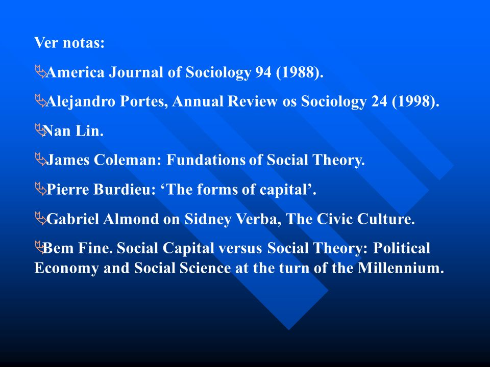 Ver notas: America Journal of Sociology 94 (1988). Alejandro Portes, Annual Review os Sociology 24 (1998). Nan Lin. James Coleman: Fundations of Socia